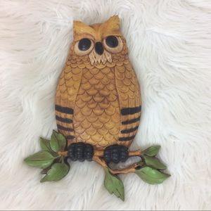"Vintage Homco Owl Wall Hanger Art 1976 10"" H"